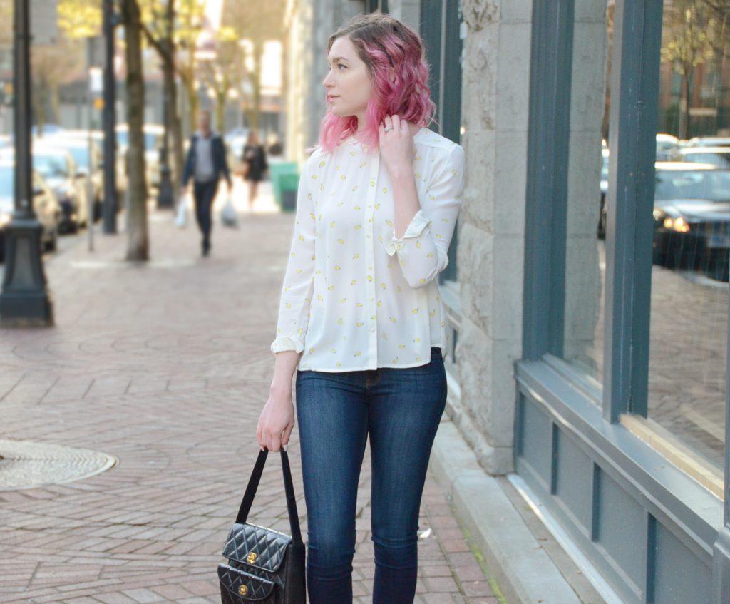 Vintage Chanel black quilted handbag, Just Black blue jeans, Des Petits Haut lemon blouse