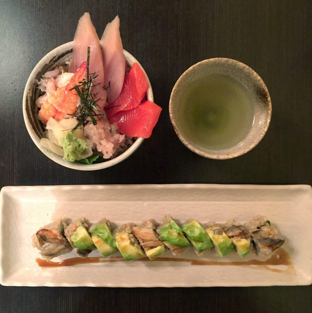 Sushi and green tea at Shizenya in Vancouver