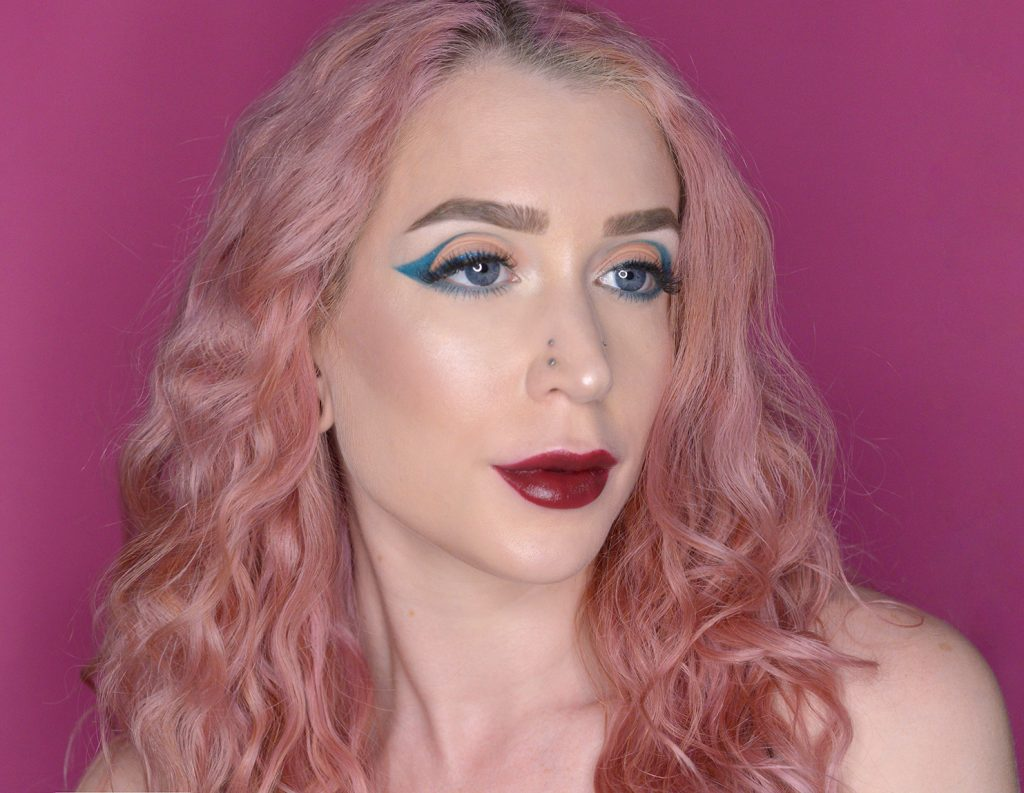Los Angeles Cruelty-Free Beauty Blogger, Emily Wolf Beauty shares a gorgeous Edgy Holiday Makeup Look with L'BRI.