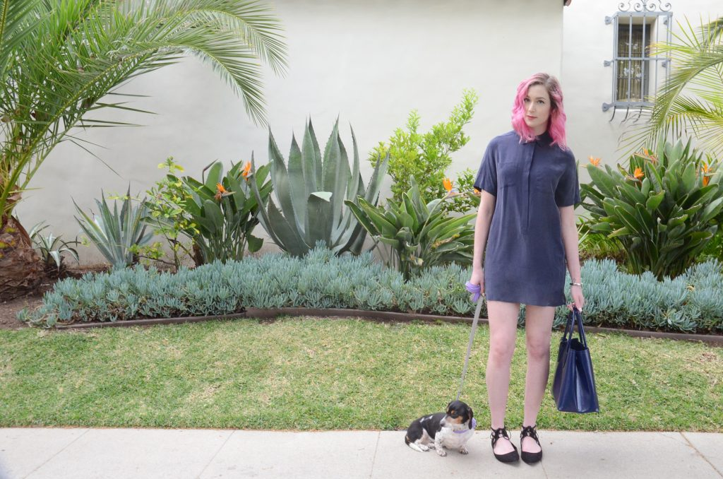 ninewest black lace up flats, navy equipment shirt dress, Prada Large Saffiano Double Bag in Royal Vernice