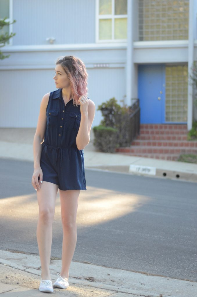 bebop navy blue romper, sugar white sampson sneaker flats