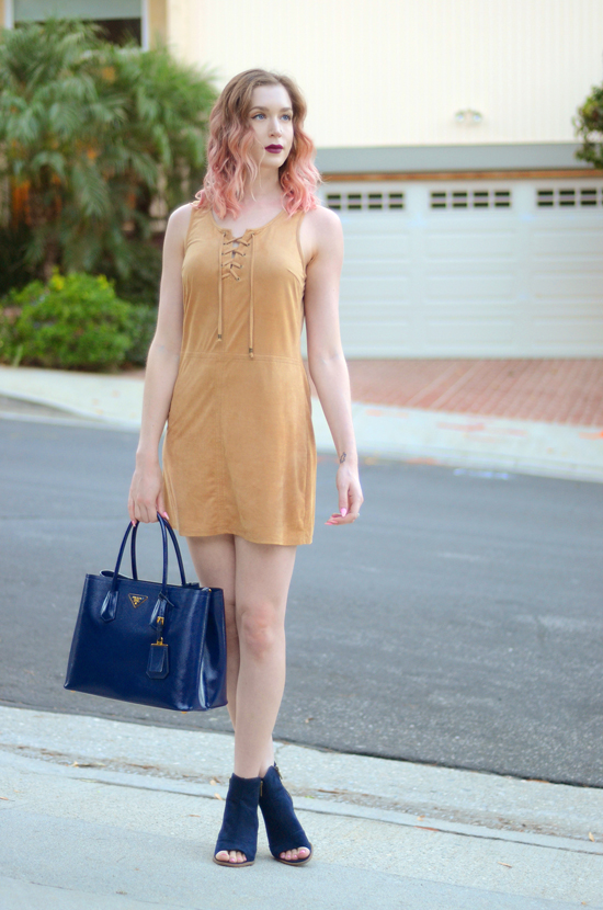 bebop faux suede shift dress. mari a navy axle peep toe booties, prada navy blue tote bag