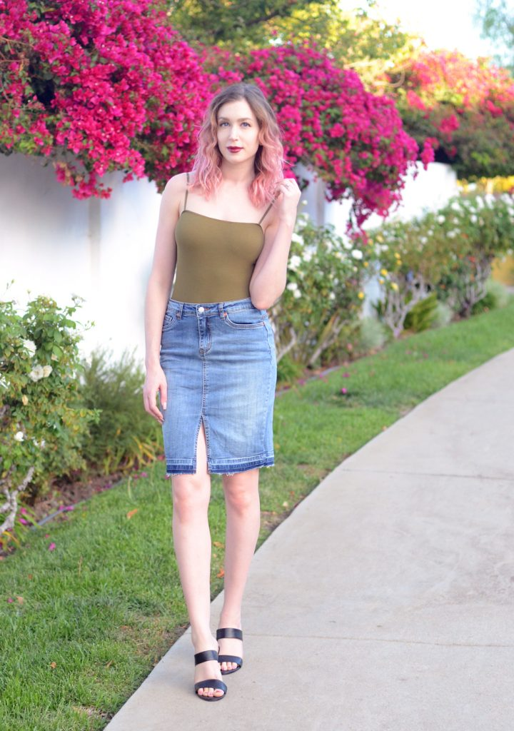 American apparel green bodysuit, denim cut off midi skit, j crew black leather heeled slides. 3 Favorite Highlighters for Fair Skin with Los Angeles Cruelty-Free Beauty Blogger, Emily Wolf Beauty.