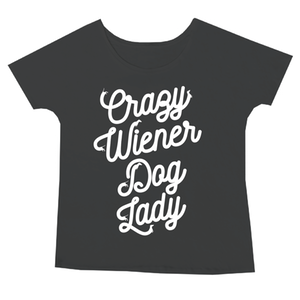beangoods crazy wiener dog lady tee black